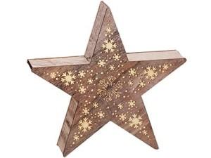 Ozdoba drewniana gwiazda LED 2j 35cm w sklepie Wasserman.eu