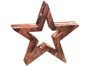Ozdoba drewniana gwiazda LED 3c 35cm w sklepie Wasserman.eu