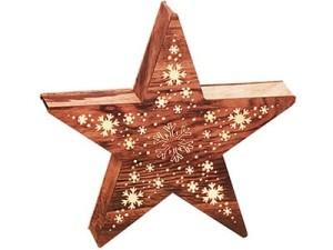 Ozdoba drewniana gwiazda LED 2c 35cm w sklepie Wasserman.eu