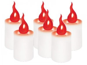 Flashing LED candles S1 6 pieces red plus batteries at Wasserman.eu