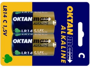 Alkaline batteries C 1.5V Oktan Max LR14 2 pieces at Wasserman.eu