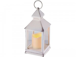 Lantern with LED candle ZY2114 white 24cm, timer at Wasserman.eu