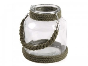 Glass lantern with a brown cord at Wasserman.eu