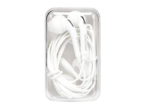 Samsung earphones with a white box at Wasserman.eu