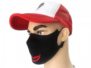 Reusable face mask. Black with lips. 100% cotton Mouth mask at Wasserman.eu