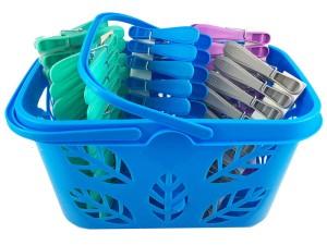 Klamerki do bielizny 50 sztuk niebieski koszyk Kosz50N w sklepie Wasserman.eu