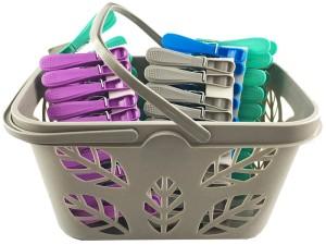 Clothes pegs 50 pieces gray basket at Wasserman.eu