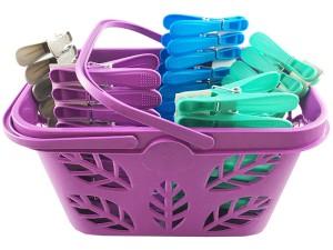 Clothes pegs 50 pieces purple basket at Wasserman.eu