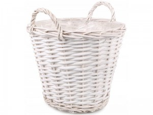 White wicker basket with foil and handles 31x25cm at Wasserman.eu