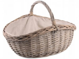Gray wicker basket with material and handle 36x29x11-16cm at Wasserman.eu