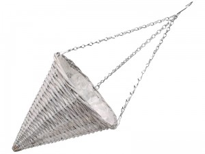 Wicker hanging basket cone with foil 30x32cm gray at Wasserman.eu
