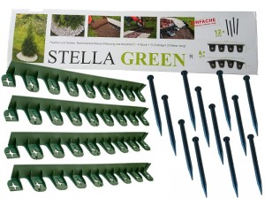 Plastic lawn edging 4 pcs + 12 anchors at Wasserman.eu