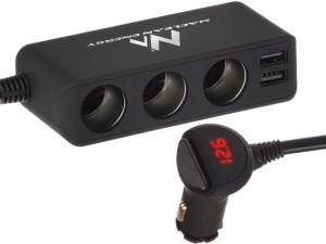 Cigarette lighter splitter, 2x USB charger, voltmeter at Wasserman.eu