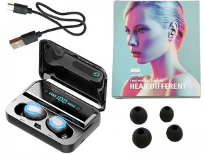 TWS F9 wireless headphones with case at Wasserman.eu