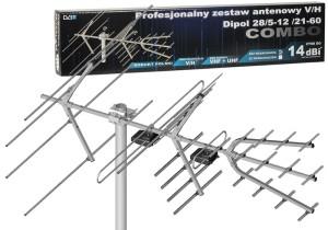 Antena DVB-T H/V Combo VHF UHF Dipol 28/5-12/21-60 b w sklepie Wasserman.eu