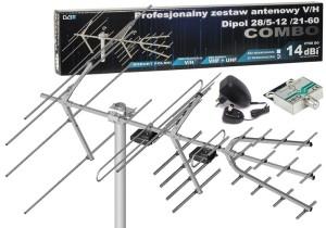 Antena DVB-T Combo VHF UHF + Wzmacniacz Dipol 28/5-12/21-60  w sklepie Wasserman.eu