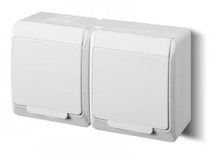 Plaster socket with flap Hermes 0322-02 double white at Wasserman.eu