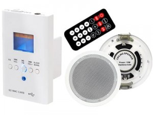 Wall mounted blueetoth USB SD audio FM radio set at Wasserman.eu