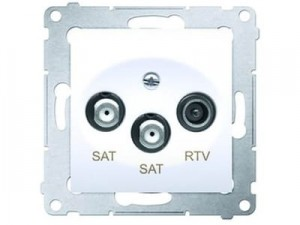 Double SAT antenna socket Simon DASK2.01 white at Wasserman.eu
